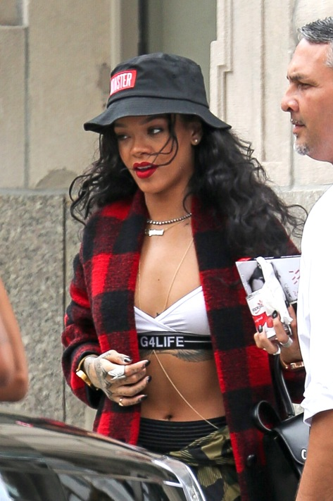 Rihanna seen leaving her apartment building in NYC