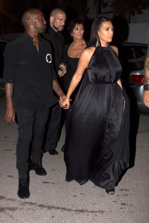 Kim Kardashian, Kayne West and Kris Jenner arrive at Amnesia Club in Ibiza, Spain
